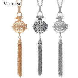 Wholesale Metal Gold Tassels Chain - Mexican Chime Harmony Pendant Tassel 3 Colors Brass Metal Angel Necklaces with Stainless Steel Chain VA-039