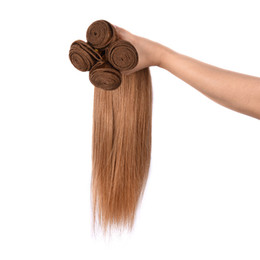 Wholesale beautiful hair pieces - Grade 8A Beautiful Brazilian Virgin Hair Brown Color 5 Bundles Factory Wholesale Top Quality Straight , free dhl
