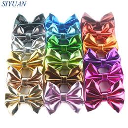 Wholesale synthetic hair bow clip - 50pcs  Lot Trendy Synthetic Leather Bow Girl Solid Headwear Bowknot Without Clip Hair Decoration Children Hairpins 18 Colors H0273