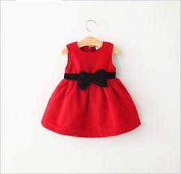 Wholesale Bowknot Belt Skirt - Baby Girls Red Sleeveless Vest Dresses 2015 Spring Autumn Children's Belt Bowknot Princess Dress Kids Clothing Child Clothes Girl Tutu Skirt