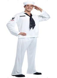 Wholesale Men S Ties Navy White - cosplay w1022 2015 Hot Sale Black Tie White Navy Costumes For Man With Cap Wholesales Free Shipping