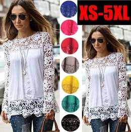 Wholesale Crochet T Shirt Color - Fashion Autumn Blouses and Shirts O-neck Long Sleeve Sexy Crochet Large Plus Size Casual Women Chiffon Lace Blouse Tops t Shirts B127
