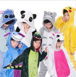 Wholesale Kigurumi Kids Sleepwear - kids Pajamas Kigurumi Unisex Cosplay Animal Costume Onesi sleepwear Flannel Animal funny animal Stitch panda Pajamas KKA3359