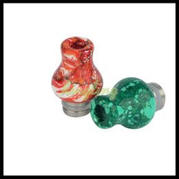 Puntas de goteo vape piedra online-Jade Stone Driptip Resina Epoxi Metal 510 Drip Tip Resina Stone Drip Tip para RDA RBA Atomizer Vape Vaporizadores Colorful Bore Bore Amplio