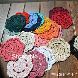 Wholesale Cup Pads - Free shipping wholesale 24 color 50 pic 10 cm round table mat crochet coasters zakka doilies cup pad props for lampshade for dinning table