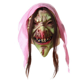 Wholesale gothic dance costumes - Fairy tale old witch dance props Halloween bar chamber to escape the whole set of latex horror mask