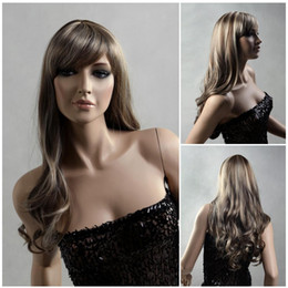 Wholesale kanekalon hair weave - hair weaves bloned flaxen wig women long hair wig with a bang Synthetic fiber of 100% Kanekalon 1pc Lot Free Shipping 0729S418-12T