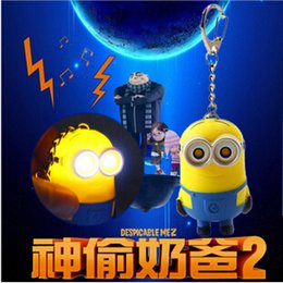 Wholesale Despicable Key Rings - Despicable Me 3D Eye LED Light Keychain Key Chain Ring Kevin Bob Flashlight Torch Sound Toy Promotion Lover Children gift