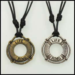 Wholesale Trendy Antique Ring - 2016 trendy nautical theme life ring pendant necklace fashion antique silver bronze Life Saver charms jewelry princess necklace 24pc T1003