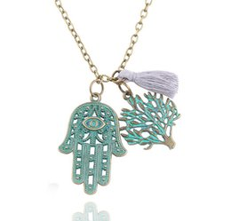 Wholesale Tree Pendant For Men - Vintage Hamsa Hand Lucky Tree Design Pendant Necklace Retro Punk Chain Necklaces Jewelry For Men Women Fashion Accessory