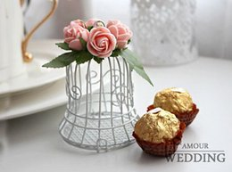 Wholesale Wedding Favor Bell Box - 100Pcs Lot wedding bells Candy Boxes White Bird Cage With Rose Flowers Favor Holders Wedding And Party Gift Box 2016 New Style