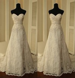 Wholesale Miss Free Shipping - BlingBling Sweet heart A-Line Lace Applique Crystal Beaded Wedding Dresses Cheap Sleeveless Backless Lace Brial Wedding Gowns Free Shipping