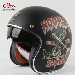 Wholesale Casco Vintage - Wholesale-Torc t57 3 4 vespa open face vintage scotter motorbike helmet motocross capacete cascos moto retro casque casco de motocicleta