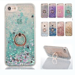 Wholesale Ring Liquid - Bling Liquid Holder Case For iPhone X 8 7 Luxury Quicksand Dynamic Ring Holder Cases TPU Frame Cover For iPhone 6 6S 7 Plus