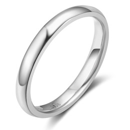 Wholesale Womens Silver Wedding Rings - Brand New Rhodium Plated 925 Sterling Silver Jewelry Classic Detail Finger Rings Womens Wedding Engagement Rings