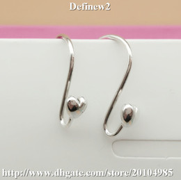 Wholesale Sterling Posts - Pandora Earrring Silver Heart Post fine jewelry wholesale 925 sterling silver ring 2pcs lot DF304