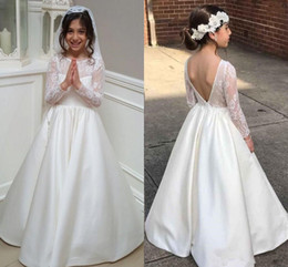 Wholesale Little Girls Backless Dress - 2018 first communion dresses jewel lace long sleeves v backless little kids wedding dresses satin a line party gowns