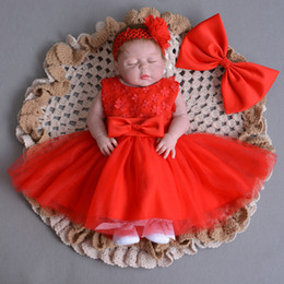 Wholesale Lace Ruffle Girls Dress Headband - Infants sweet dresses lovely baby girls lace flowers sleeveless bows wedding tulle dress+bows headbands Newborn cute dress C2167
