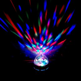 Wholesale Dhl Dj Laser - RGB Full Color 3W E27 LED Bulb Crystal Auto Rotating Stage Effect DJ Light Bulb Mini laser Stage Light DHL Fedex Free
