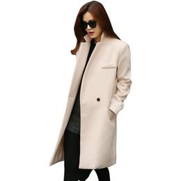 Wholesale Elegant Women Wear - Wholesale-2015 Women Winter Formal Elegant Coat Wear to Keep Warm Full Sleeve Long Lady Overcoat Vestidos Pink Black Beige to Choose