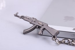 Wholesale Ring Box Antique - Game CF Cross Fire 65mm AK47 gun Weapon Model Pendant Keychain Metal key ring Keyring Key Chain With Plastic Box 30PCS LOT