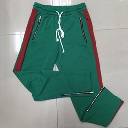 Wholesale Track Pants Wholesale - Wholesale- Straight Pant Men Striped Pants Patchwork Color Casual Sweatpants Fleece Workout Active Track Pants Trousers