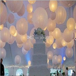 """Wholesale Chinese Hanging Ornaments - Upscale 10""""(25cm)White Chinese Paper Lanterns With LED Lights Hanging Ornament For Wedding Party Decoration Supplies"""