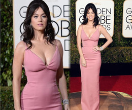 Wholesale Katy Perry Pink Prom Dress - 2016 Katy Perry 73th Golden Globe Awards Celebrity Dresses Sexy Sheath Formal Prom Dress Evening Gowns With V Neck Zip Back Satin Fabric