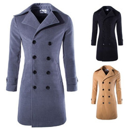 Wholesale Duffle Trench - Fall-Winter Autumn Double Breasted overcoat mens Long pea coats men wool trench men doudoune hommen Male duffle coat ManJacket