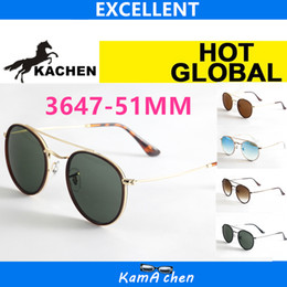 Wholesale Sunglasses Round Gold Metal - KaChen 51mm 145 blue red green gold pink gradient Lens UV400 3647 protection metal frame AAA 1:1 quality sunglasses glasses men women