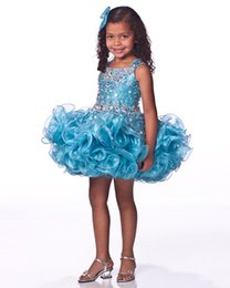 Wholesale Cheap Infant Dresses For Weddings - arty Dresses for Girls Free Shipping Beaded Rhinestone Dazzling Sequins Ruffle Cheap Flower Girl Dresses Infant Glitz Pageant Dresses