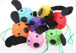Wholesale Nose Yellow - 32pcs lot Cute Useful Animal Dog With Black Noses Foldable Eco Reusable Shopping Bags 7Colors 39cm x37cm