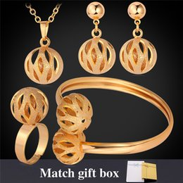 Wholesale Wedding Ring Pendant - Cute Ball Pendants Necklace Earrings Ring Bracelet Wedding 18K Gold  Platinum Plated Vintage Jewelry Sets With Gift Box MGC PEHR872