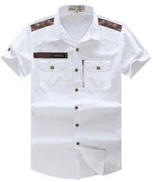 Wholesale Men S Cargo Shirts - Wholesale-2016 New Mens Summer Shirt Short Sleeve Plus Size White Khaki Blue Military Style Mens Shirts Casual Cargo Shirts Men