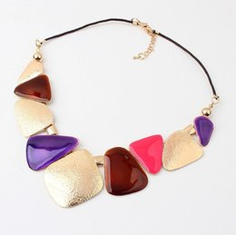 Wholesale Vintage Diamond Tennis Necklace - 2017 new fashion wholesale accessories sale fashion jewelry brand resin created gemstone vintage statement necklace for women