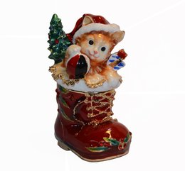 Wholesale Faberge Gifts - Vintage decoration box Christmas cat animal jewerly box faberge trinket box metal crafts birthday Christmas gifts pewter figurine