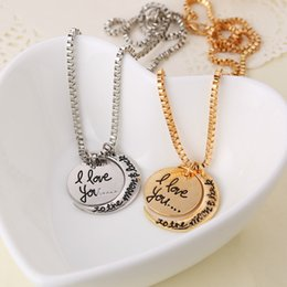 Wholesale I Love Korean - Fashion Vintage moon necklace Korean I Love You To The Moon necklaces pendants Charms Chain jewelry Children Accessories bjd nerf statement