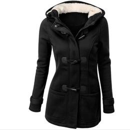 Wholesale Hooded Coat Grey - Wholesale-Winter Jacket Women Hooded Winter Coat Fashion Autumn Women Parka Horn Button Coats Abrigos Y Chaquetas Mujer Invierno NY002LMXO