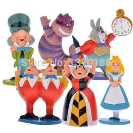 Wholesale Set Alice Wonderland - Hot classic MINI ALICE IN WONDERLAND PVC Cake Toppers Figure Toy 6pcs set free shipping A5