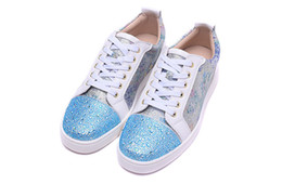 Wholesale Denim Diamonds Shoes - Luxury Brand Red Bottom Sneakers Blue Suede Glaze Casual Mens Womens Shoes The Blue Diamond Color Great Toe Trainers Footwear Flat Shoes