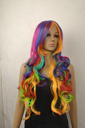 Wholesale Cosplay Wigs Lolita - Wig can hot dye>>>>Fashion Women Rainbow Long Curly Wavy Hair Full Cosplay Lolita Party Wig