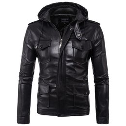 Wholesale Casual Cargo Jacket - Wholesale- 2017 Europe United States men's motorcycle hooded jacket men leather jacket multi-pocket cargo coat high quality leather coats