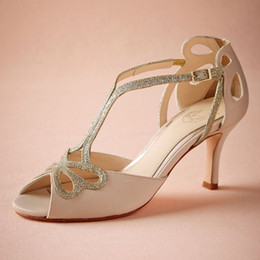 """Wholesale Sequin Dance Shoes - Blush Low Heel Wedding Shoes Hollow Out Peep Toe Bridal Sandals For Women Buckle 3"""" Wrapped Heel Sparking Glitter Prom Shoes Dance Party"""