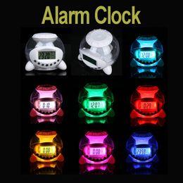 Wholesale Natural Light Calendar - New Charming LED Light 7 Color Changing Multi-function Natural Sound Alarm Clock Calendar Temperature Clock Freeshipping