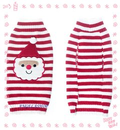 Wholesale Dog Frames - Free shipping Pet Christmas Sweater l Puppy Dog or Cat Winter Clothes with white & Red face frame strip Santa Claus pet's Apparel