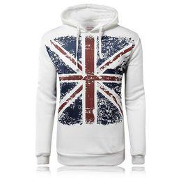 Wholesale Uk Pullover - Wholesale-2015 Fashion New UK Flag Printed Hoodies Coat Men,Casual White Pullover Hoodies,Sports Casual Hoodies Sweatshirts