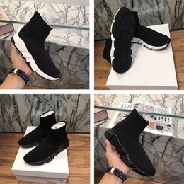 Wholesale Famous Brands Socks - Fast shipping 2017 wholesale Men and Women Designer Shoes Paris Famous Brand Speed sock Trainer Mid Black White red Sneakers Mens Shoes