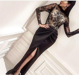 Wholesale Dresses Holidays - 2018 Cheap Arabic Split Evening Dress High Neck Long Sleeves Formal Holiday Wear Prom Party Gown Custom Made Plus Size