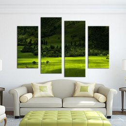 Wholesale Green Trees Wall Canvas - 4 Panel green tree mountain paints Wall painting print on canvas for home decor ideas paints on canvas paintings No framed