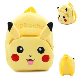 Wholesale Pikachu Plush Backpack - Kids backpacks poke pikachu backpack for children girl boy schoolbags plush girls boys stuff dolls bag children christmas gifts
